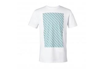 Чоловіча футболка MINI з контрастним принтом, біла / аква