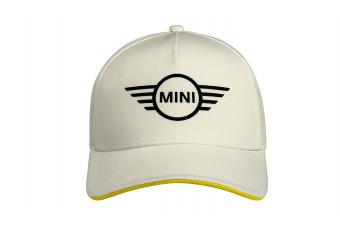Бейсболка MINI Cap Contrast Edge Wing Logo, білий / жовтий